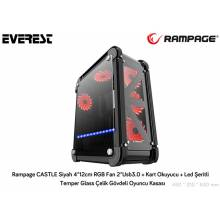 Rampage CASTLE Black 4 * 12cm RGB Fan 2 * Usb3.0 + Card Reader + Led Striped Temper Glass Steel Body